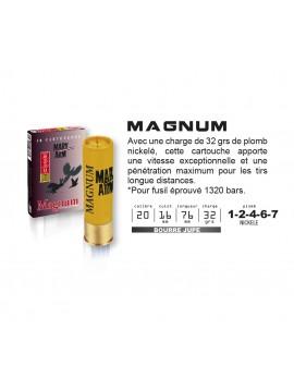 Cartouches MARY ARM  MAGNUM Calibre 20/76 32grs bourre à jupe