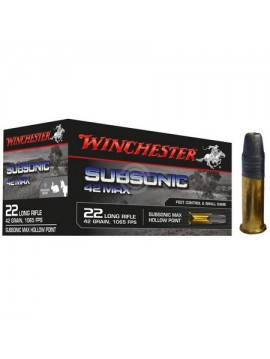 Munitions WINCHESTER Subsonic 42 Max Pointe creuse 22 LR 42Gr
